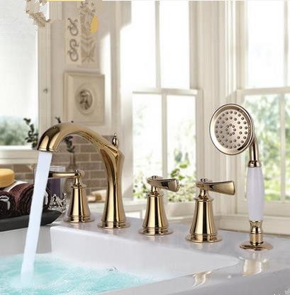 Antique Classic Golden Printed Luxury Widespread Tub Tap with Hand Shower BT2280