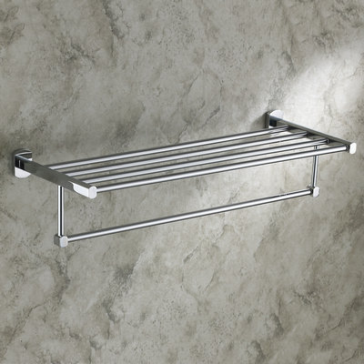 Solid Brass Chrome Finishd Bathroom Shelf With Towel Bar TCB7303