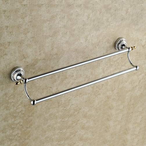 Chrome Finish Double Bars Towel Rack TCB7802