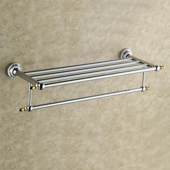 Polished Chrome Solid Brass Bathroom Shelf With Towel Bar TCB7803