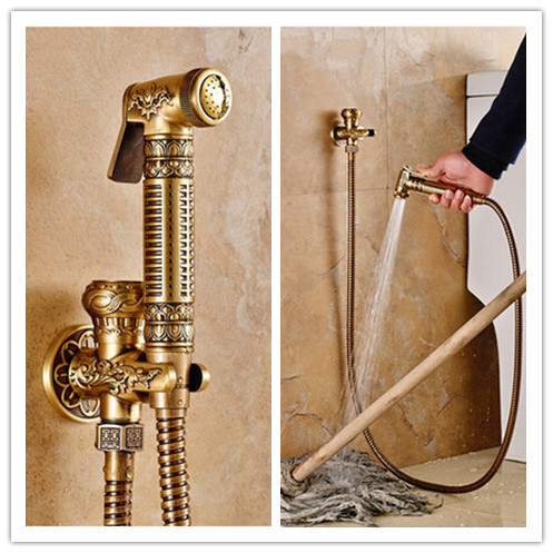 Antique Brass Luxurious Carving New Design Bidet Tap DB1580
