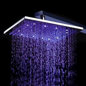 Contemporary 8 inch Stainless Steel Color Changing LED Light Shower Head HB8F