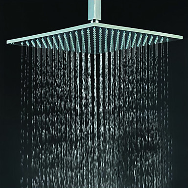 Contemporary Square Chrome Stainless Steel Faint LED Light Shower Head HB12F
