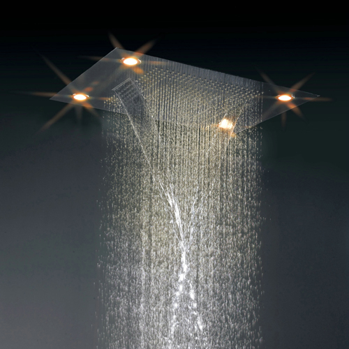 Contemporary 35 Inch Luxury Square Rainfall LED Shower Tap HN35F