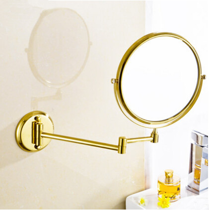 Folding cosmetic mirror 8 inch brass Continental antique gold-plated bathroom mirror scalable MB002
