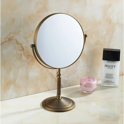 8 Inches Antique Brass Bathroom Desktop Make Up Mirror MB008