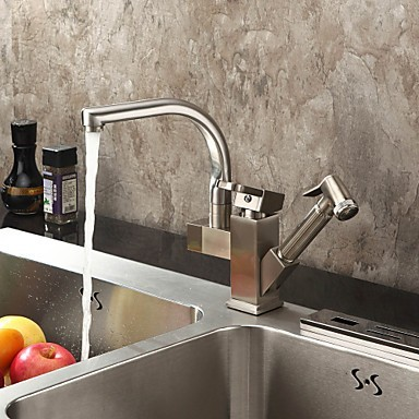 Solid Brass Spring Pull Out Kitchen Tap - Polished Nickel Finish N1770