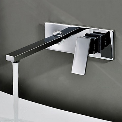 Contemporary Wall Mount Bathroom Sink Tap (Chrome Finish) TQ0482