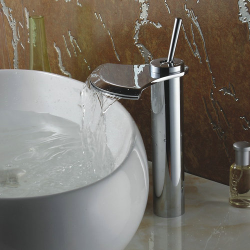 Chrome Finish Single Handle Waterfall Bathroom Sink Tap TQ3001H