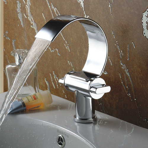 Special Design Brass Chrome Finish Waterfall Curve Spout Bathroom Sink Tap TQ3025