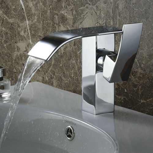 Contemporary Waterfall Bathroom Sink Tap (Chrome Finish) TQ3026