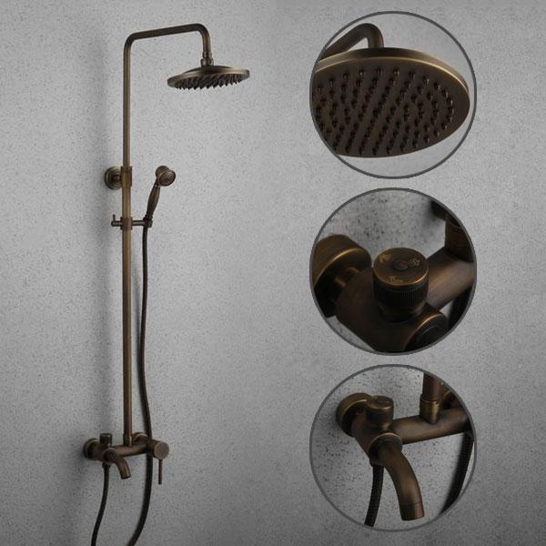 Antique Brass 8 Inch Shower Head Hand Shower Tub Shower