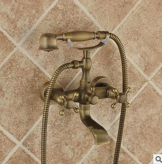 Traditional Antique Brass Finish Tub Tap with Hand Shower - TSA011