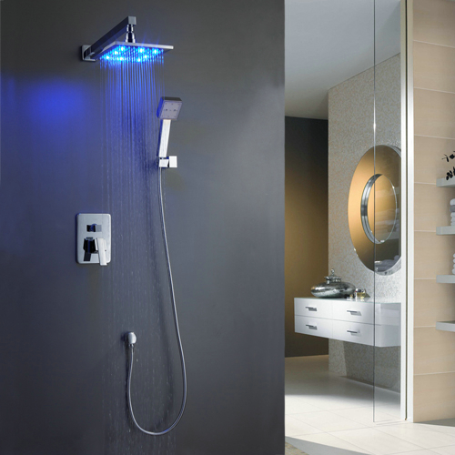 Wall-Mounted LED Shower Tap with 8 inch Shower Head + Hand Shower TSF006