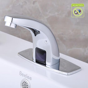 Contemporary Cold Water Automatic Touchless Chromewith Hydropower Sensor Bathroom Sink Tap - T0115P
