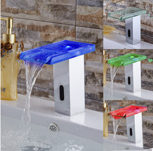 New Arrival Automatic LED Color Changing Bathroom Glass Spout Sink Tap T0350