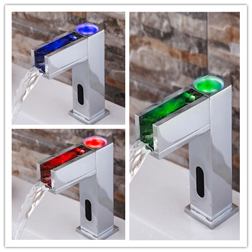 Automatic Brass LED Color Changing Bathroom Sink Tap T0380