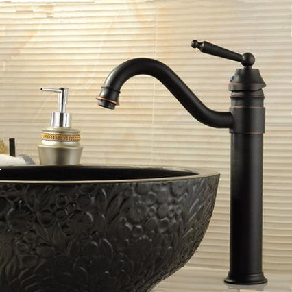 Traditional Style Black Bronze Brass Finish Countertop Bathroom Sink Tap T0404BH