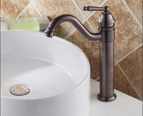 Traditional Style Oil Rubbed Bronze Finish Bathroom Sink Tap T0404OR