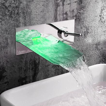 Chrome Finish Color Changing LED Waterfall Wall Mount Bathroom Sink Tap T0500BF