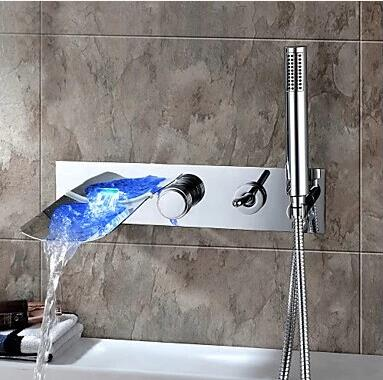 Contemporary Color Changing Wall Mount Tub Tap With Hand Shower T0500BW