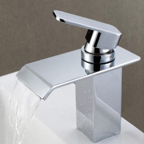 Contemporary Waterfall Bathroom Sink Tap Chrome Finish T0518