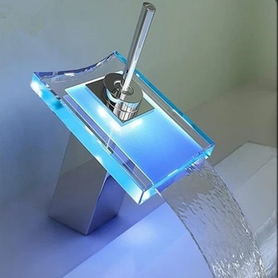 Contemporary Color Changing LED Glass Spout Waterfall Bathroom Sink Tap - T0815-1F
