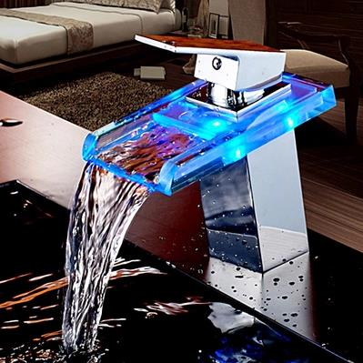 Contemporary Single Handle Waterfall LED Bathroom Sink Tap - T0818F