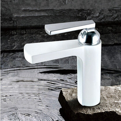 New Brass High Quality Bathroom Mixer Tap White Waterfall Tap T1020W
