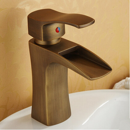 Antique Waterfall Brass Brushed Bathroom Sink Tap T1023D