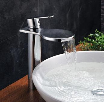 Creative Waterfall Brass Bathroom Sink Tap High Version T1027W
