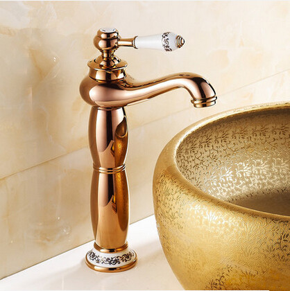 New European Style Mixer Bathroom Sink Tap High version Rose Gold T1120A