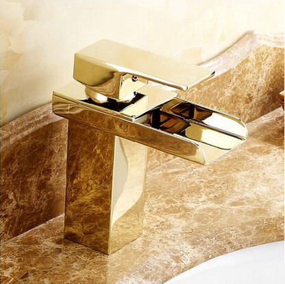 Hot Sale Brass Gold Bathroom Sink Tap Waterfall Mixer Tap T1122G ...