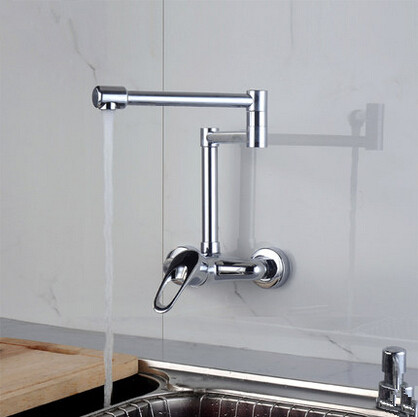 Chrome Single Handle Pull Out Centerset Wall Mounted Mixer Kitchen Tap T14629S
