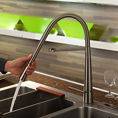 Contemporary Brass Kitchen Tap - Nickel Brushed Finish T1708