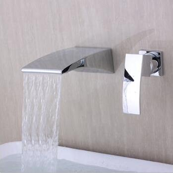 Contemporary Wall Mounted Waterfall Chrome Finish Bathroom Sink Tap T6037
