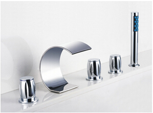 Contemporary Curved Shape Design Waterfall Tub Faucet with Hand Shower T7708