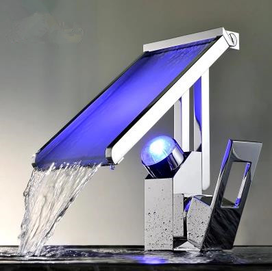 Contemporary Color Changing LED Waterfall Widespread Bathroom Sink Tap - T8002-2