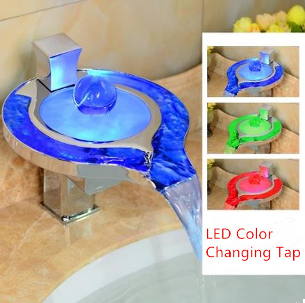 Contemporary Color Changing LED Waterfall Bathroom Sink Tap - T8008F