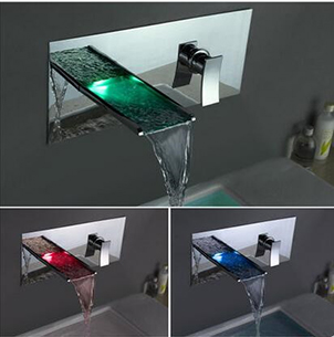 Contemporary Color Changing LED Waterfall Bathroom Sink Tap T8013