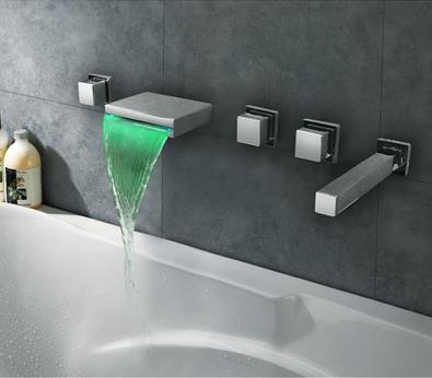 Thermochromic Contemporary Chrome Finish LED Waterfall Bathroom Tub Tap T8045