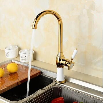 Antique Brass Golden With White Printed Kitchen Mixer Sink Tap TA0138G
