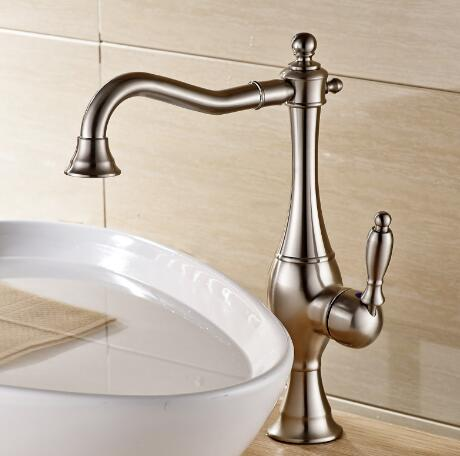 Antique Classic Nickel Brushed Single Handle Bathroom Sink Tap TA015N
