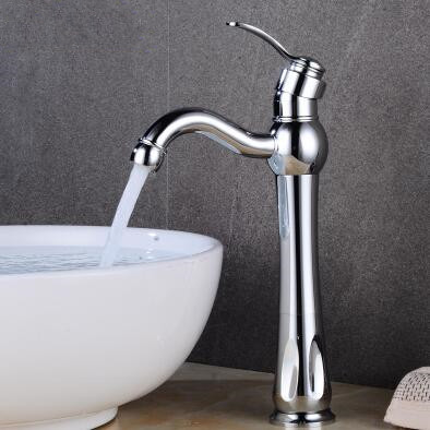 Chrome Finished Brass Mixer Water Rotatable High Version Bathroom Sink Tap TA0260CH