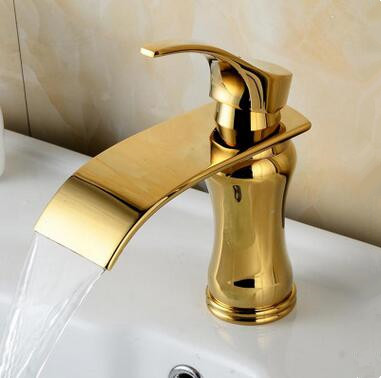 New Fashion Golden Printed Waterfall Mixer Bathroom Sink Tap TA0268G