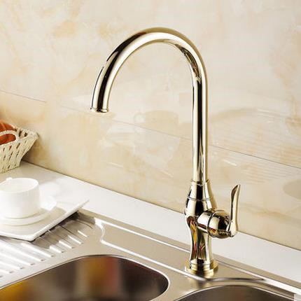 Antique Classic Style Golden Printed Mixer Kitchen Sink Tap TA0299G