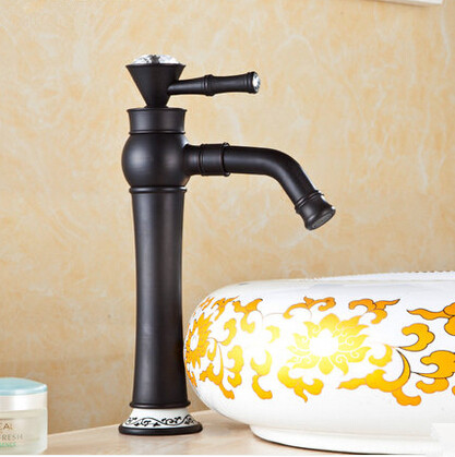 Brass Antique Black Bronze Bathroom Sink Tap Mixer Porcelain Tap TA3055H