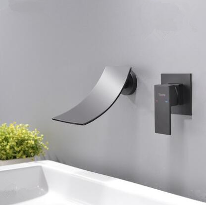 Antique Matte Black Brass Waterfall Bathroom Sink Tap Tub Tap TB0485 - Click Image to Close