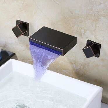 Black Brass LED Color Changing concealed Installation Bathroom Sink Tap TB3180