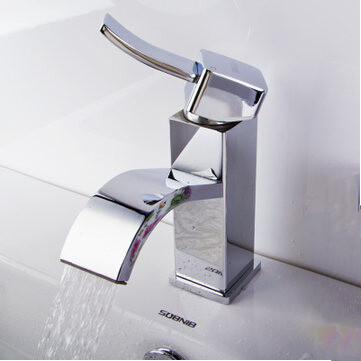 Brass Waterfall Mixed Single Handel Bathroom Sink Tap TC009E